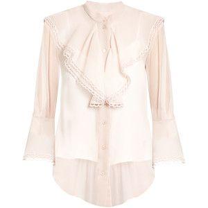 Chloé Fluted-bib silk-crepon blouse