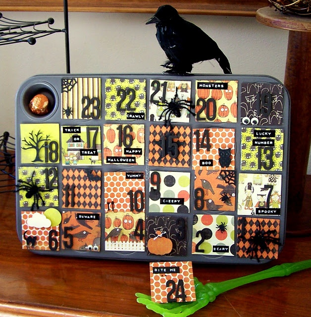 Halloween Advent Calendar - flat magnets - mod podge - need a stand or drill two holes and wire - make one for Christmas and other holidays