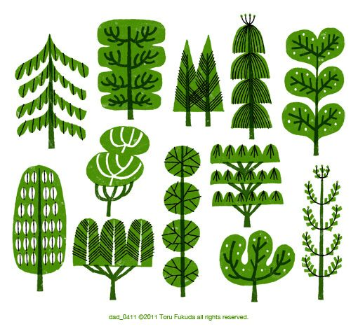 Toru Fukuda: Trees Green, Green Trees, Fukuda Trees, Illustrations Trees, Trees Graphics, Drawings Wonder, Trees Illustrations, Graphics Trees, Toru Fukuda