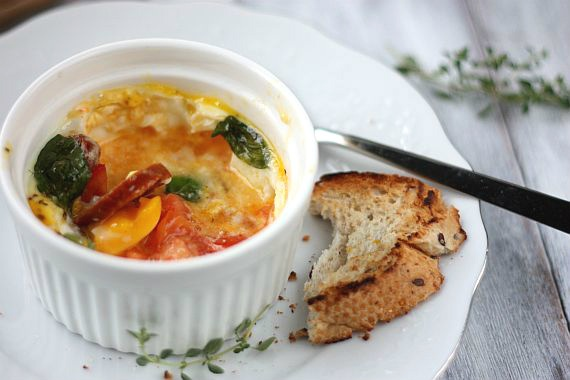 Baked Eggs With Chorizo and Tomatoes   Food   Pinterest   Tomatoes ...