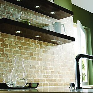 Wickes White Tumbled Travertine Brick Mosaic Tile 305x305mm
