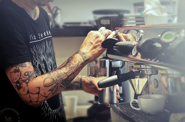 Coffee photography. Williams, Barista at Bru Coffee Bar ~ Los Feliz, California