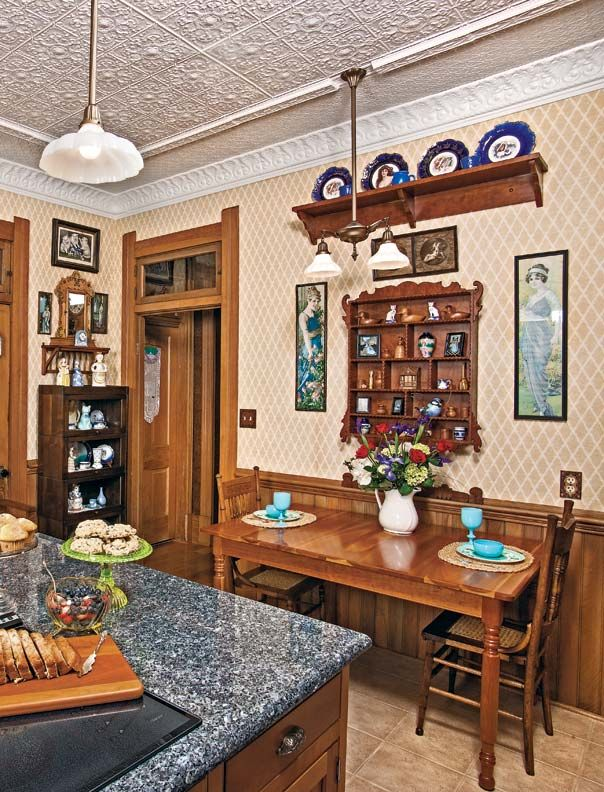 For the kitchen addition, the owner made woodwork to match original trim in the house.