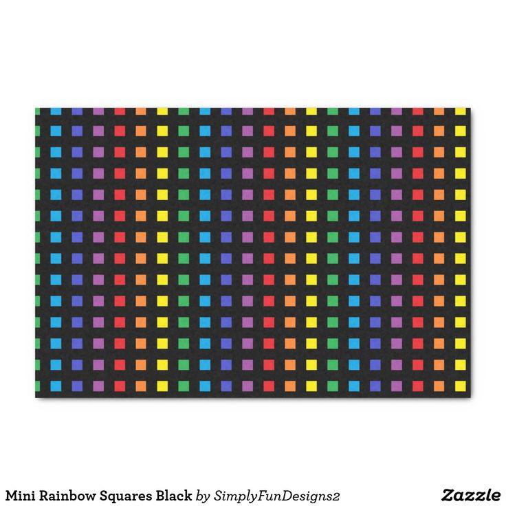 Mini Rainbow Squares Black Tissue Paper