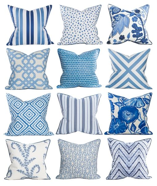 Coastal Home Pillows #blue #decor #BlueAndWhite