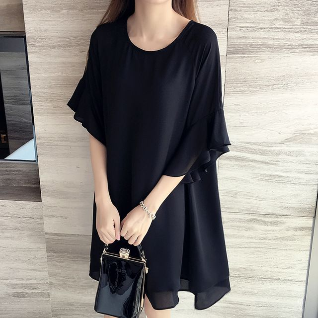 2017 New 5XL 4XL 3XL Summer Women Fashion Loose Cute Round neck Butterfly Sleeve Black Chiffon Plus size Tops Dress Hot