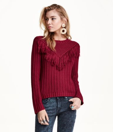Dark red, soft cotton sweater with fringe at front and long sleeves. | H&M Divided
