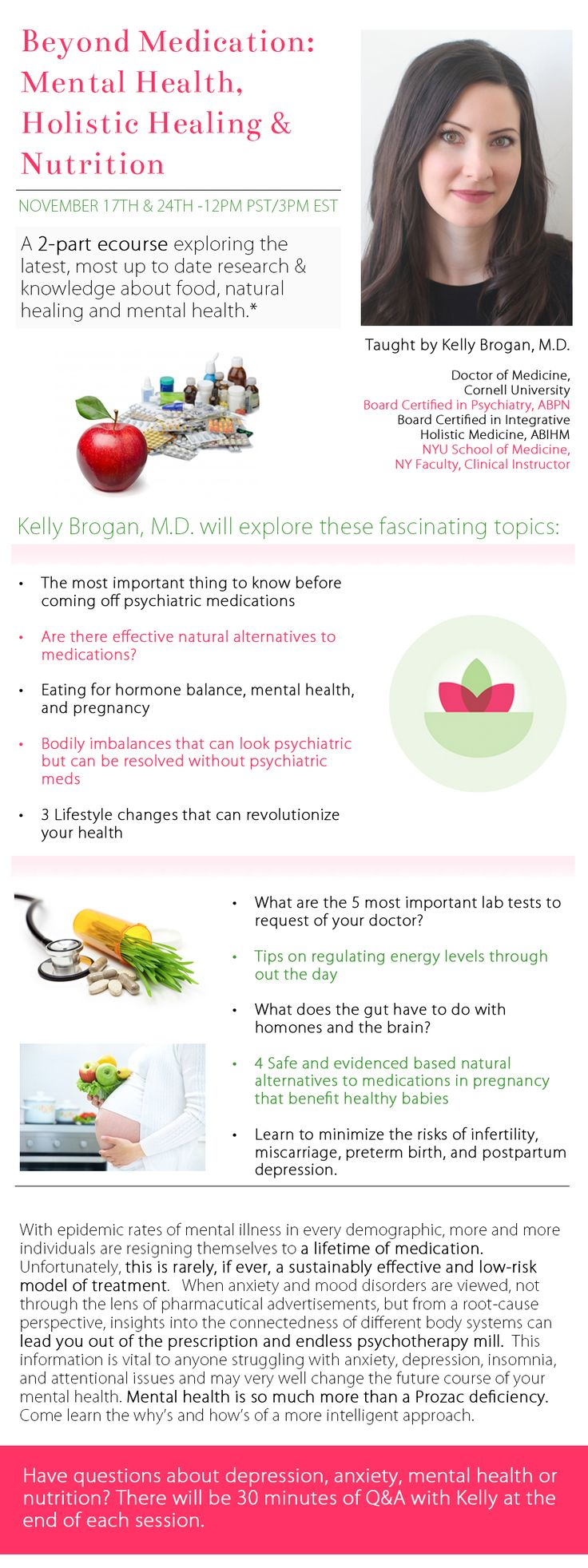 Dr. Brogan's two part holistic mental health online course - what it is and what it's not - and natural psychiatric treatments for mental health.