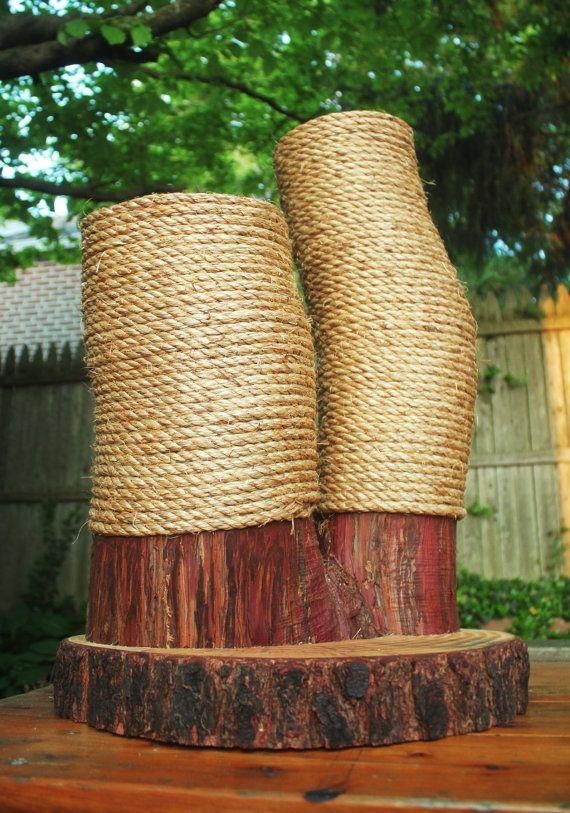 Handmade & Recycled Tree-Limb Cat Scratching Post - Cat Scratcher - Rustic Cat Furniture - Cedar