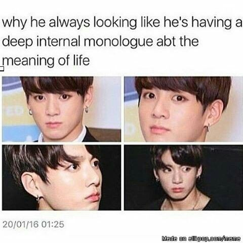 I think he just looks reaaaally angry xD | Jungkook.....to me he always looks surprised