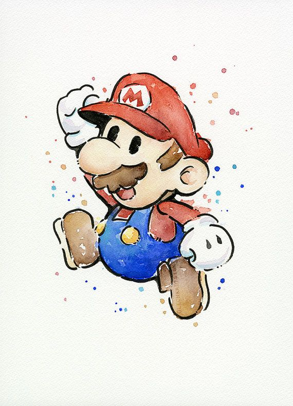 Hey, I found this really awesome Etsy listing at https://www.etsy.com/listing/218435540/mario-original-watercolor-painting-geek