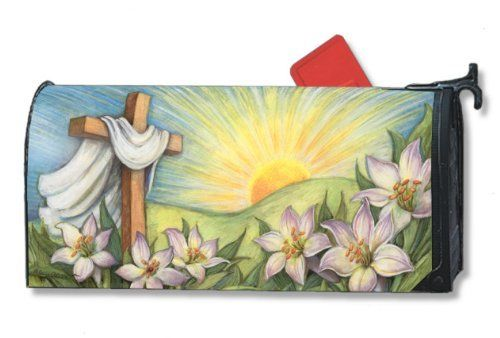 """Easter Sunrise Mailbox Cover by MagnetWorks. Save 6 Off!. $14.99. Decorative mailbox covers include 3 sets of self-adhesive numbers.. Snaps into place with 2 strong magnetic strips.. Mailwraps Mailbox Covers fit standard metal mailbox 6.5"""" wide and 19"""" long.. Vinyl coated and screen printed for long lasting beauty. MailWraps  Mailbox Covers  fit standard metal mailbox 6 1/2 wide x 19 deep. Magnetic mailbox cover attaches using magnetic strips. MailWraps is a registered trademark ..."""