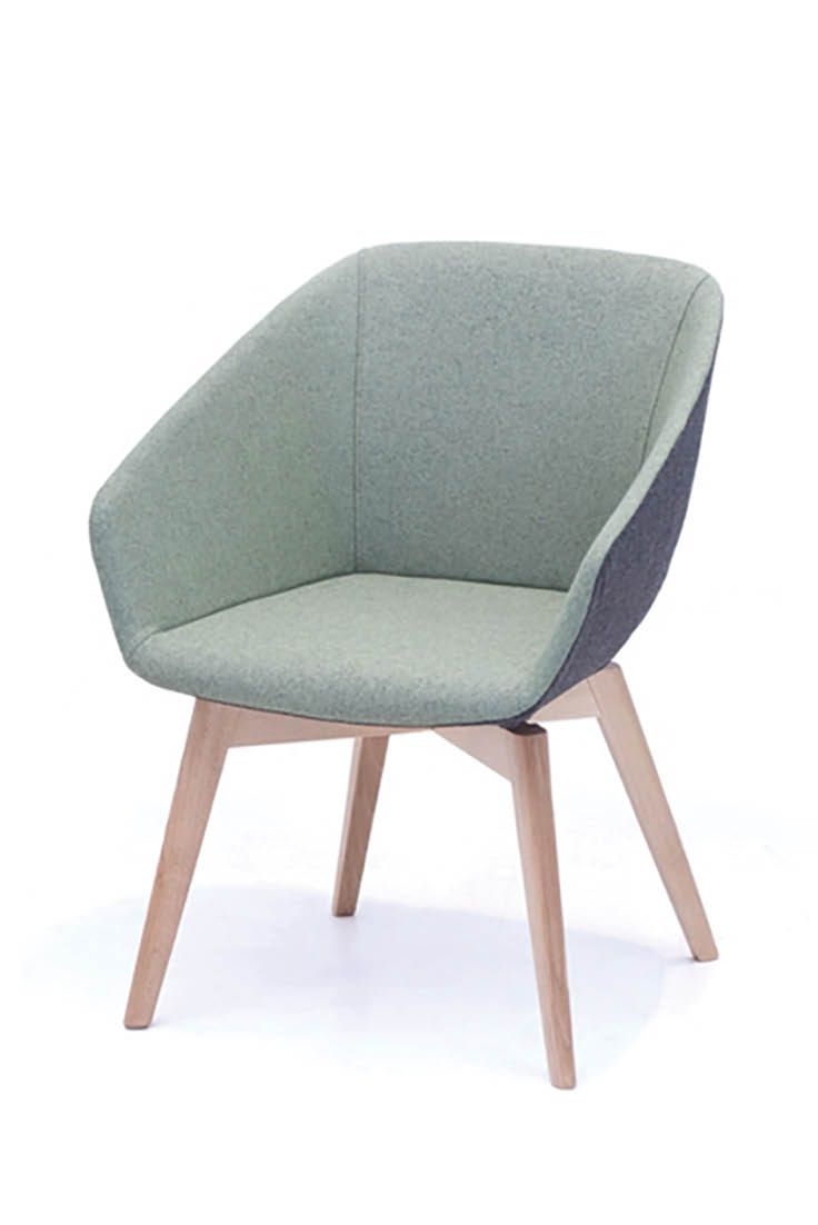The Brek Chair is a contemporary Italian design suited to a wide range of commercial situations.  Consisting of steel framework moulded with cold-cure polyurethane, with a swivelling base in polished chrome or 4 leg tapered timber for less formal settings.  Stocked and upholstered locally providing fast lead times and customer fabric selection.