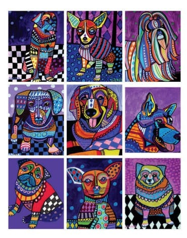 Dog Aceo cards  Set of 9 ACEO PRINT Cards  by HeatherGallerArt, $24.00