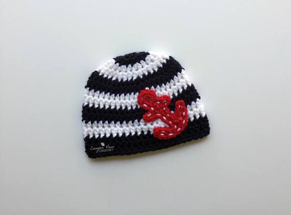 Baby Anchor Hat Nautical Hat Summer Kids Nautical Anchor  #canyonviewcrochet www.CanyonViewCrochet.etsy.com