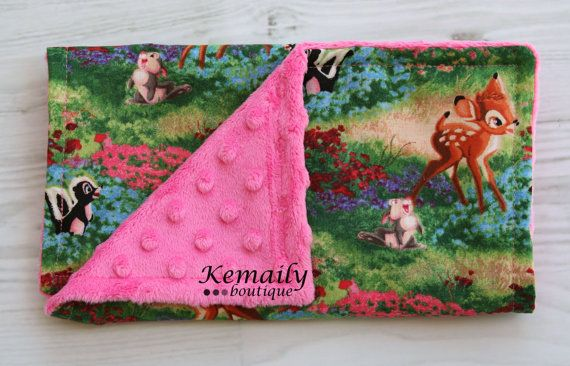 Made With Bambi Fabric On Hot Pink Minky Baby Burp by Kemaily, $7.00