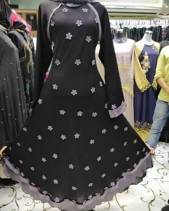 dd92011156 Umbrella abaya with flowers Nida material Rate 2900 All sizes are available