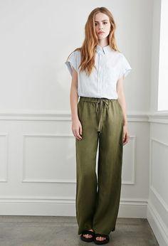 Vind je deze broek ook zo gaaf? Koop 'm dan snel, hij is nu in de uitverkoop! #mode #dames #uitverkoop #korting #linnen #broek #legergroen #fashion #women #trousers #culottes #green #sale