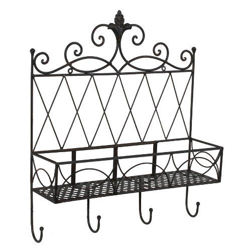 tuscan wrought iron metal wall shelf wall planter with