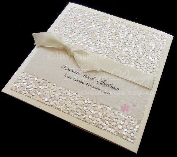 Square pocket fold invitations by www.tangodesign.com.au #pebblewedding #lattewedding #vintageinvitations