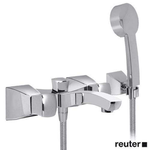Villeroy & Boch Square bath mixer with hand shower set chrome