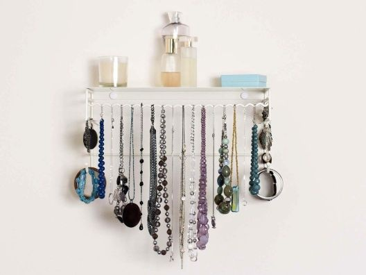 I did something similar to this because I have so much beautiful costume jewelry that I never wear because I never go anywhere. So this way I get to, at least, look at it :)Belledangl Classic, Organic Ideas, Belledangl Jewelry, White, Jewelry Organic, Organizers, Products, Jewelry Holder, Classic Jewelry