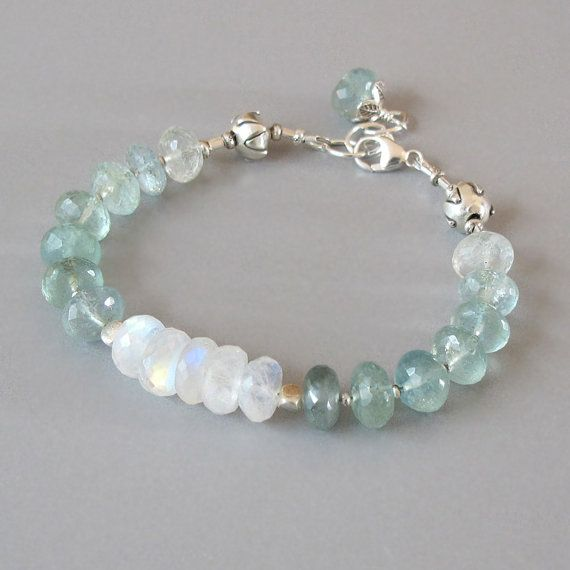 Aquamarine Rainbow Moonstone Bracelet Sterling Silver Bead Ombre Color Flashing Gemstone DJStrang Green Bridal Boho Cottage Chic March