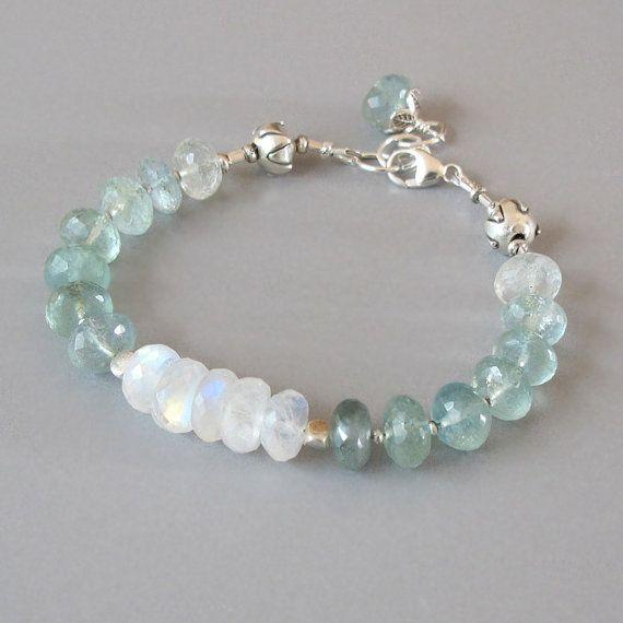 Aquamarine Rainbow Moonstone Bracelet Sterling Silver Bead Ombre Color Flashing Gemstone DJStrang Green Bridal Boho Cottage Chic March