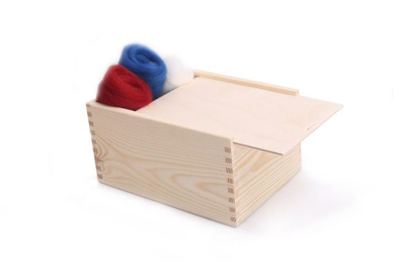 Sliding lid box made of natural unfinished pine wood. Can serve as sewing, childrens room or kitchen storage, minimalist decor, a treasure keepsake