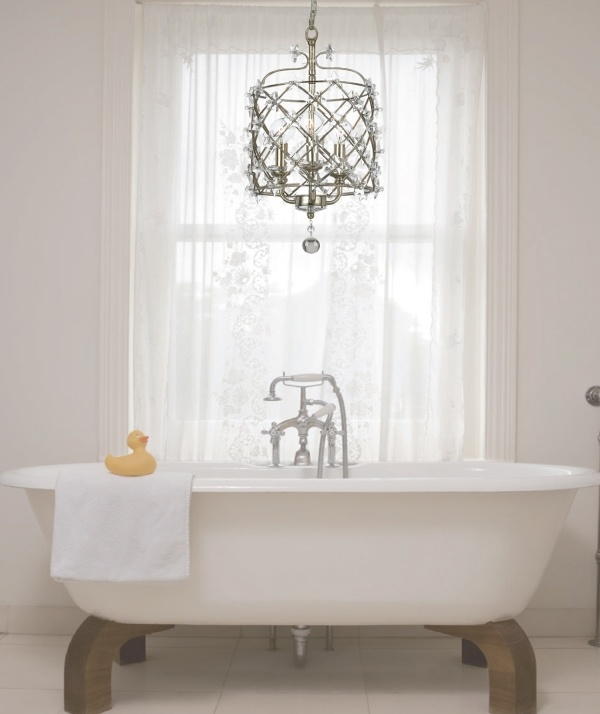 17 Best images about Unexpected Lighting on Pinterest | Cottages ...:An elegant bathroom with a Willow chandelier as the centerpiece - gorgeous!,Lighting