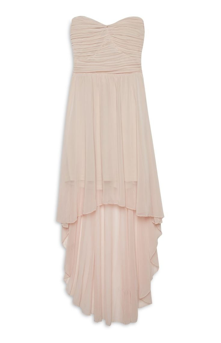 Nude Chiffon Asymmetric Dress