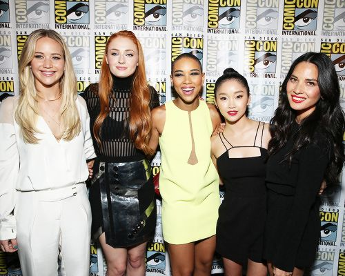 The ladies of X-Men: Apocalypse attend the FOX panel during Comic-Con International 2015 the at the San Diego Convention Center on July 11, 2015 in San Diego