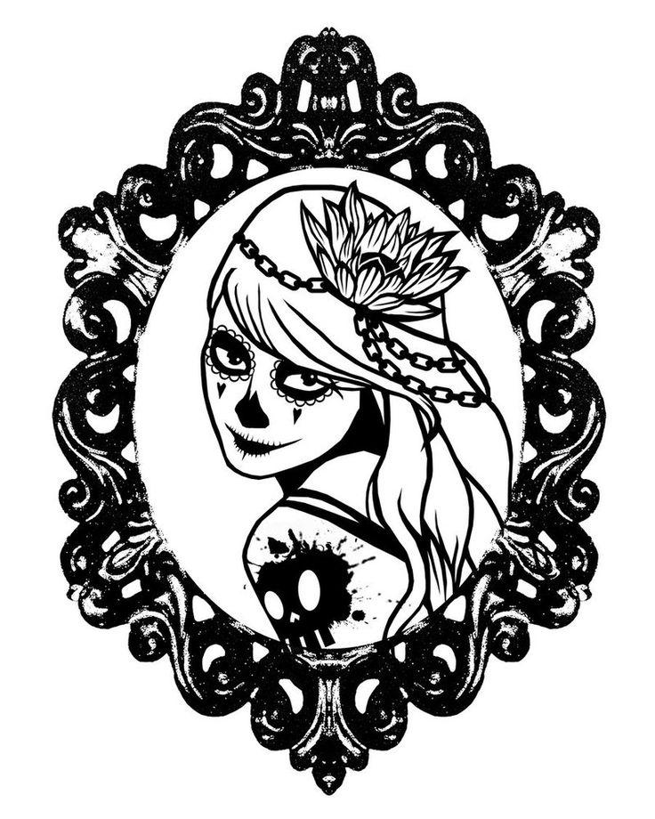 sugar skull coloring pages princess - photo#4