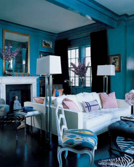 Living room from miles redd has lacquered teal walls teal - Living room paint colors for 2014 ...