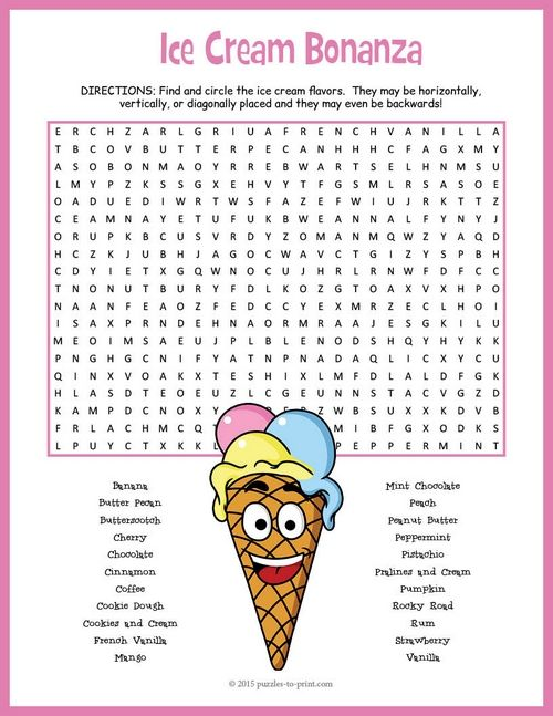 54 best images about kid word search on Pinterest : English activities, Flavors of ice cream and ...