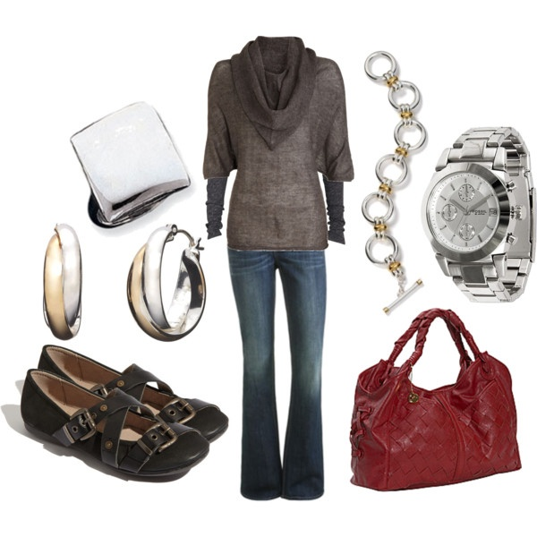 A few of my favs - cowl necks and chunky rings: Comfy Shoes, Cute Shoes, Fashion Style, Weekend Outfits, Flats, Red Bags, Red Handbags, Style Ideas, Sweaters And Jeans