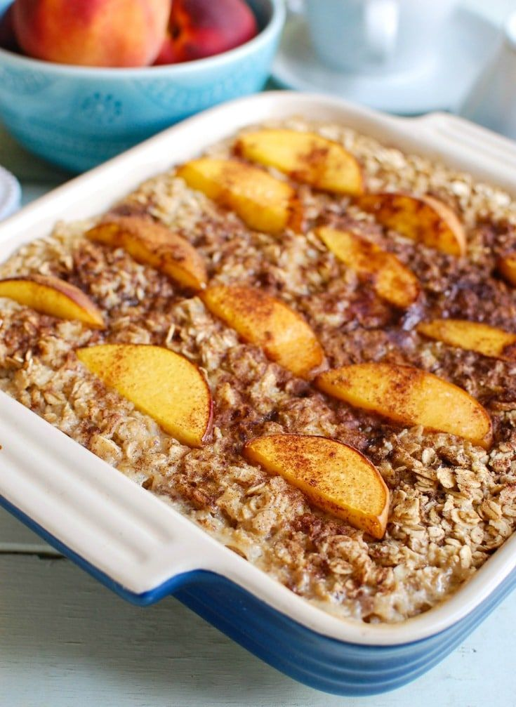 Peaches and Cream Baked Oatmeal mix oats and sweet peaches that are baked together. This is a hearty, comforting breakfast!