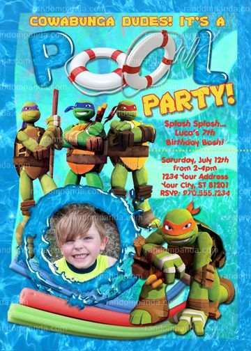Personalize Ninja Turtles Invitation, TMNT Pool Party, TMNT invite