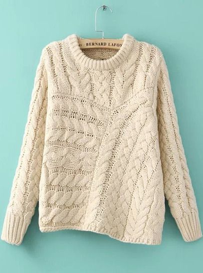 Beige Long Sleeve Asymmetrical Cable Knit Sweater - Sheinside.com