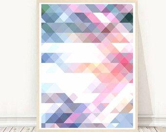 Grey Triangle Print Geometric Art Printable Wall Art