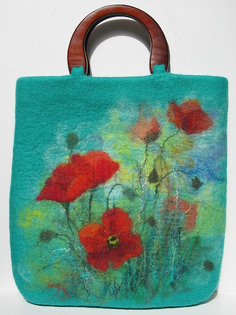 beautiful felt purse by renefelt - reminds me of work by a french artist, Odilon Redon