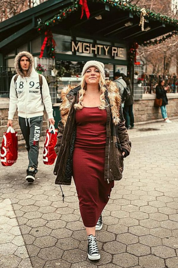 Winter outfit | NYC street style winter | Red slip dress outfit winter | Winter street style | Black converse high tops outfit ideas | Winter outfits …
