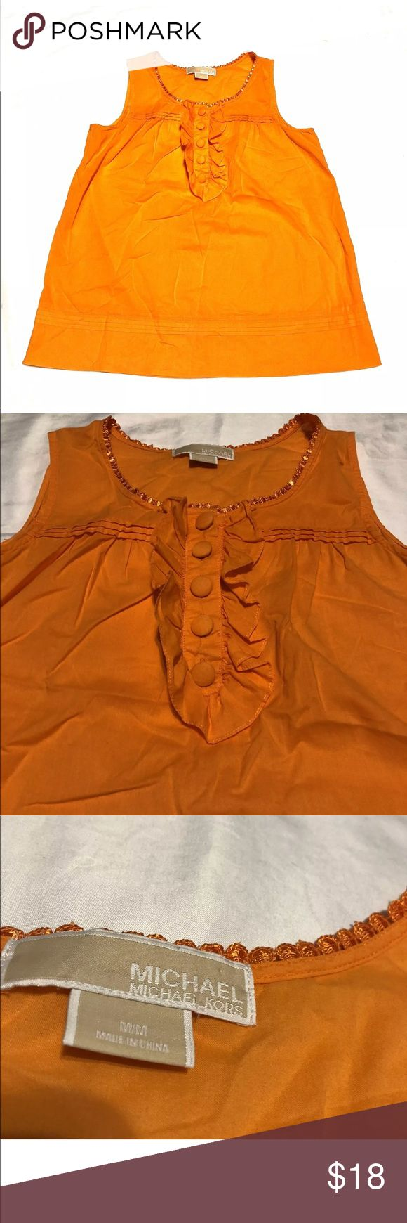 """Michael Kors sleeveless top blouse ruffle orange Michael Kors women's top  Orange  Size M  top is very thin material, might need to consider a cami underneath  Missing care tag  Measurements:  Armpit to armpit 19""""  Length from armpit down 17.5""""  Smoke free home  FAST SHIPPING Michael Kors Tops Blouses"""