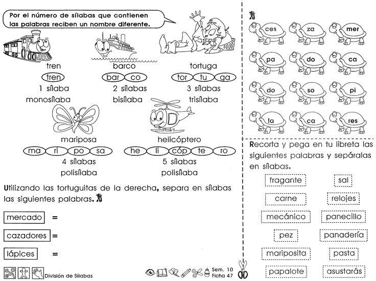 Por el número de sílabas que contienen las palabras reciben un nombre diferente.  ACTIVIDAD  -Utilizando las tortuguitas de la derecha, separa en sílabas las siguientes palabras.  Recorta y pega en tu libreta las siguientes palabras y sepáralas en sílabas.