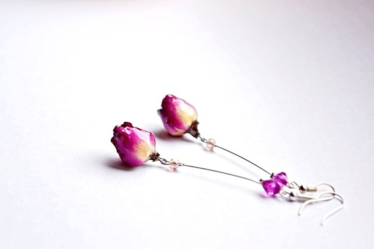 New to ArtOreCrafts on Etsy: Long dangle jewelry real Rose earrings Botanical gift for her OOAK jewelry Pink rose gift for Girlfriend Unique Gift in pink for woman (26.00 USD)