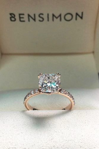 rose gold cushion cut diamond engagement rings for women unique designs