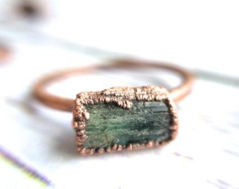 Chrysopras-Ring  Rohe Chrysopras Kristall Ring  Grüne von HAWKHOUSE