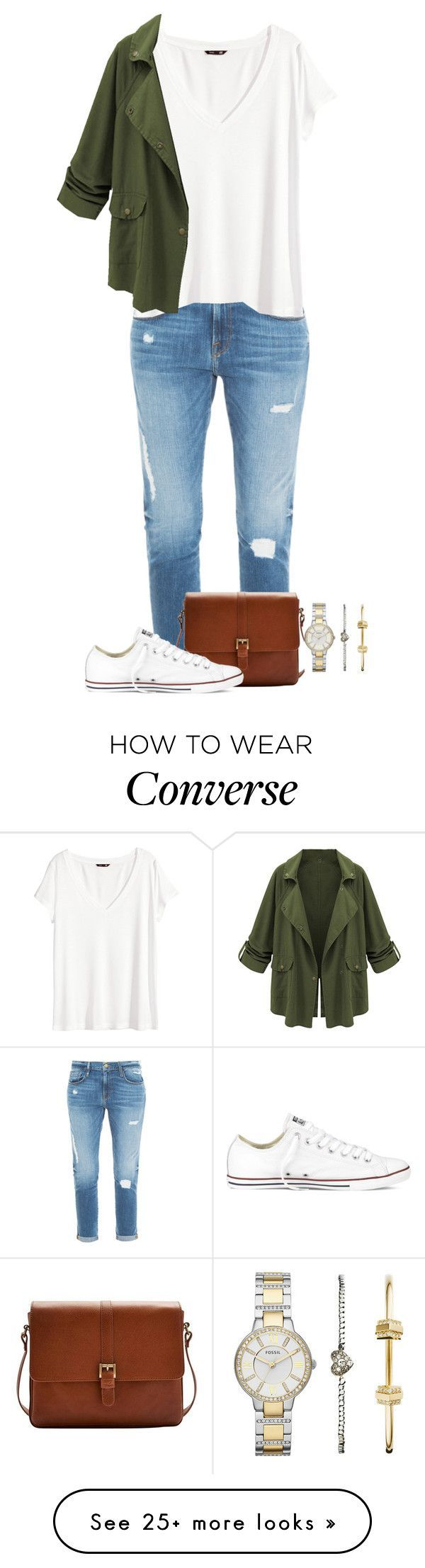 """untitled 50"" by caro3302 on Polyvore featuring Frame Denim, Joules, Converse, H&M and FOSSIL"