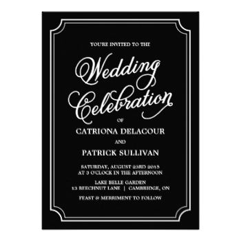 Whimsical Script Wedding Invitation Elegant and whimsical wedding invitation. This is a part of a wedding suite. Matching items and other colors are available. #wedding #elegant #whimsical #formal #script #pretty #typography #black #and #white #black #white #stylish #vintage #modern #chic #invitation