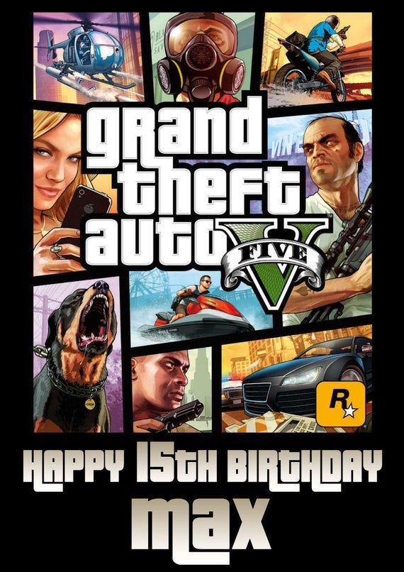 Personaslied Gta 5 Grand Theft Auto Birthday Card Any Occasion Party Favour In 2020 Personalized Birthday Cards Grand Theft Auto Birthday Cards